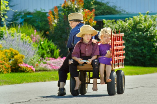 amish-trio-on-red-wagon